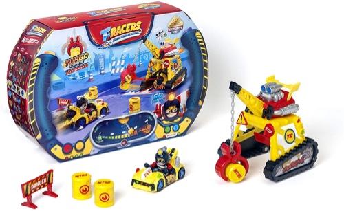 contenido de la caja T-RacersT-Racers Turbo Crane Challenge